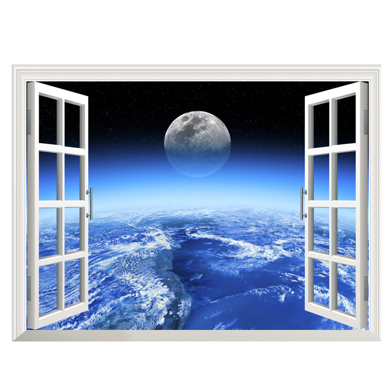 Outer Space Large Moon Galaxy Window Wall Sticker