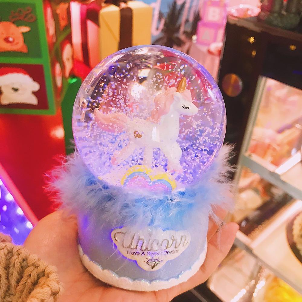 Unicorn Snowflake Crystal Ball Music Box Glass Snow Globe – GemDrip